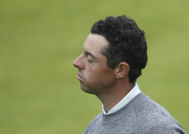 Northern Ireland's Rory McIlroy reacts after completing his second round on the 18th green during the second round of the British Open Golf Championships at Royal Portrush in Northern Ireland, Friday, July 19, 2019.(AP Photo/Peter Morrison)