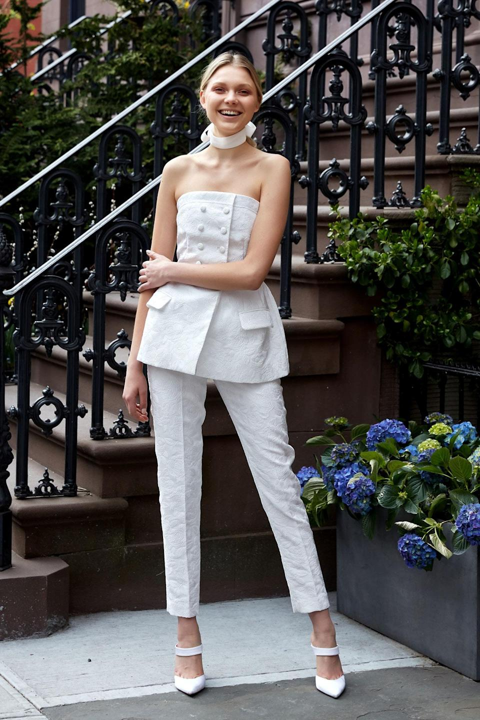 <p>The ideal ensemble for a courthouse wedding. (Photo: Erin Baiano) </p>