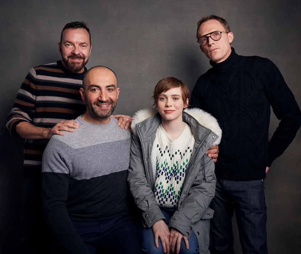 """Ball (rear left) with """"Uncle Frank"""" stars Peter Macdissi, Sophia Lillis and Paul Bettany. (Photo: Taylor Jewell/Invision/AP)"""