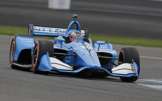 Felix Rosenqvist, of Sweden, steers his car during qualifications for the Indy GP IndyCar auto race at Indianapolis Motor Speedway, Friday, May 10, 2019 in Indianapolis. (AP Photo/Darron Cummings)