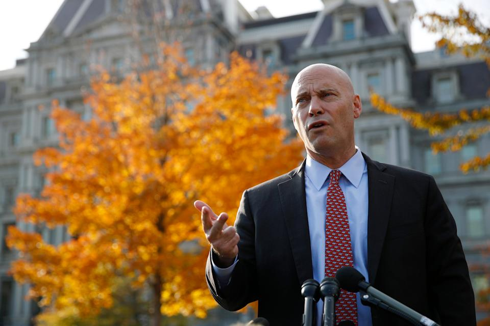 Marc Short, chief of staff to Vice President Mike Pence, speaks with members of the media outside the White House, Nov. 19, 2019, in Washington.
