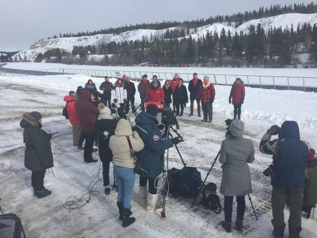 Members of the media gather for the announcement, where Silver said his Liberal government had inherited 'deep, dark issues' from the previous Yukon Party government.