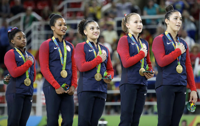 <p>Gabby Douglas was a serious victim of cyber bullying these Games, a major difference from four years ago when she was praised for being an Olympic goddess. This time, her hair was the least of the comments, but rather her patriotism and support of her teammates (or according to social media, her lack there of). (AP Photo/Julio Cortez) </p>