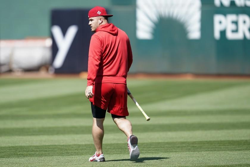 Los Angeles Angels' Mike Trout before a baseball game against the Oakland Athletics in Oakland, Calif., Monday, July 19, 2021. (AP Photo/Jeff Chiu)