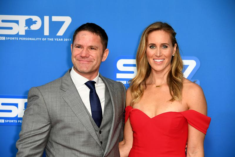 Steve Backshall and Helen Glover during the red carpet arrivals for BBC Sports Personality of the Year 2017 at the Liverpool Echo Arena.