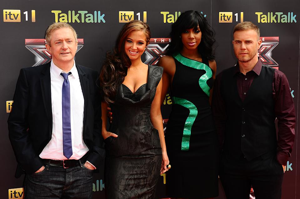 (left to right) The X Factor judges Louis Walsh, Tulisa Contostavlos, Kelly Rowland and Gary Barlow arriving for the X Factor Press Launch, at CineWorld, O2 Arena, Greenwich, London.   (Photo by Ian West/PA Images via Getty Images)