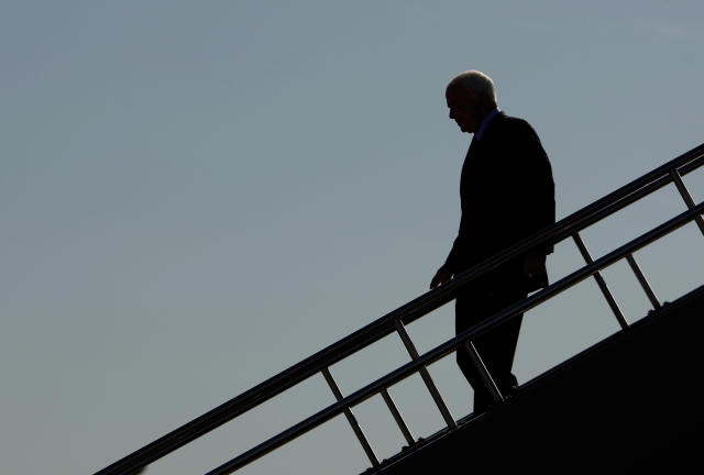 John McCain leaves his campaign plane in Des Moines, Iowa, before making a statement about the failure of the Wall Street bailout bill to pass in the House of Representatives in September 2008. (Photo: Brian Snyder/Reuters)