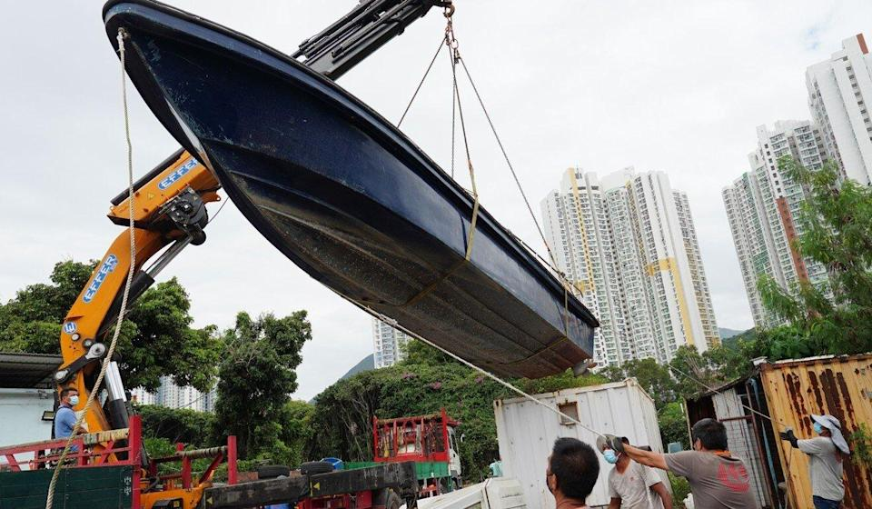 Hong Kong customs seized nearly 40 speedboats at an illegal shipyard on Wednesday as part of a broader crackdown on maritime smuggling. Photo: Robert Ng