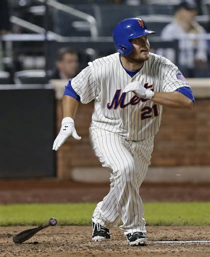 New York Mets left fielder Lucas Duda reacts watching his game-winning RBI single in the Mets' 2-1 victory over the New York Yankees in an interleague baseball game at Citi Field in New York, Tuesday, May 28, 2013. (AP Photo/Kathy Willens)