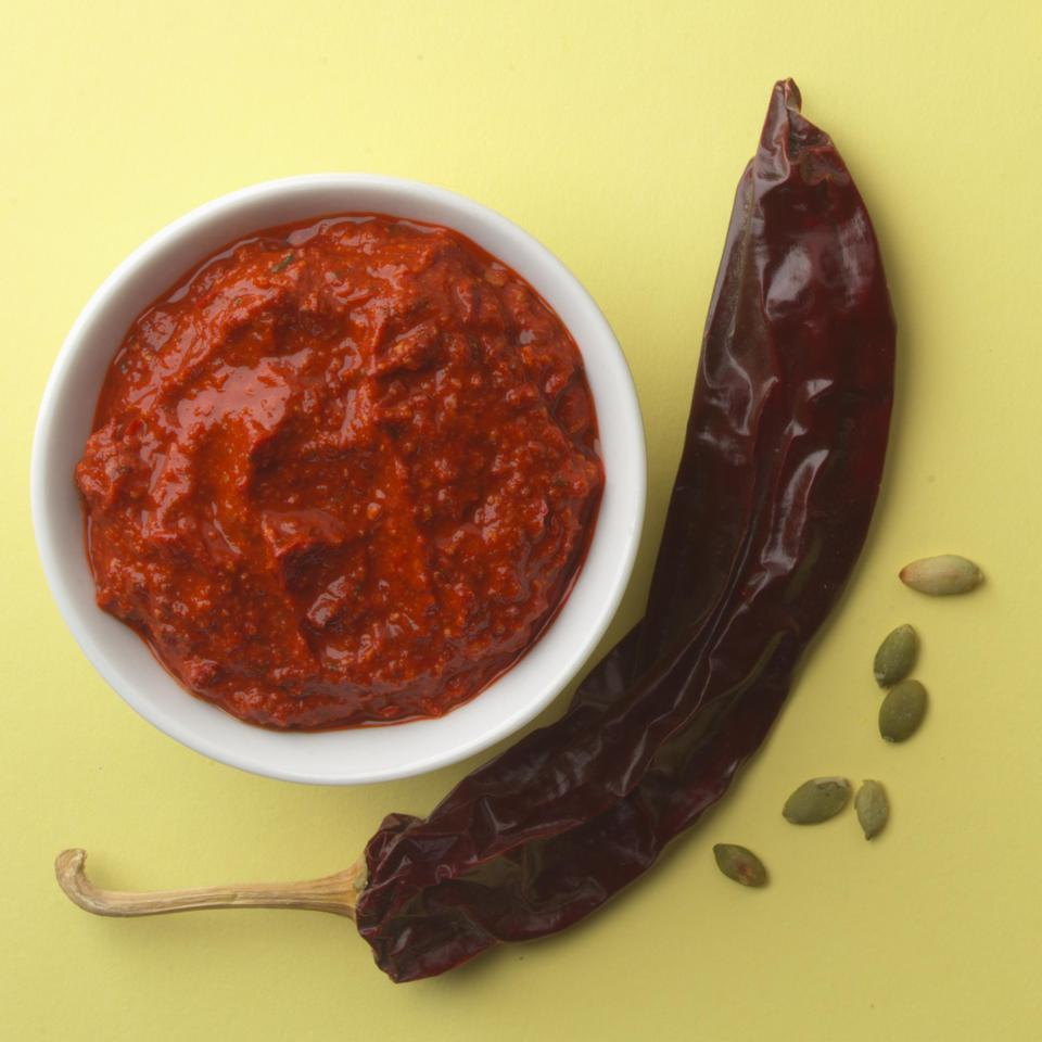 <p>A cross between an enchilada sauce and mole, this pesto pairs well with grilled meat or vegetables.</p>
