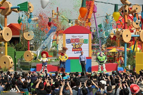 Tourists enjoy themselves at Disney Pixar Toy Story Land as part of Shanghai Disney Resort on April 26, 2018 in Shanghai, China. Based on Pixar's Toy Story characters, Disney Pixar Toy Story Land featuring three new attractions opens to the public as Shanghai Disneyland's seventh land. (Photo by Zhang Hengwei/China News Service/VCG via Getty Images)