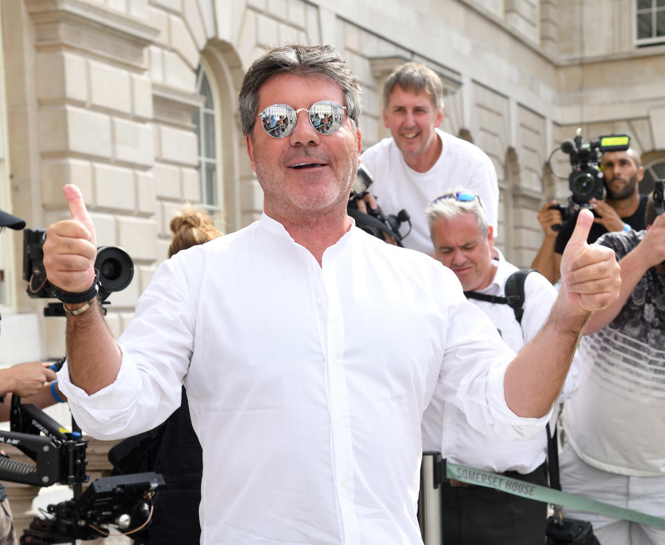 LONDON, ENGLAND - JULY 17:  Simon Cowell attends the X Factor 2018 Show launch at Somerset House on July 17, 2018 in London, England.  (Photo by Karwai Tang/WireImage)