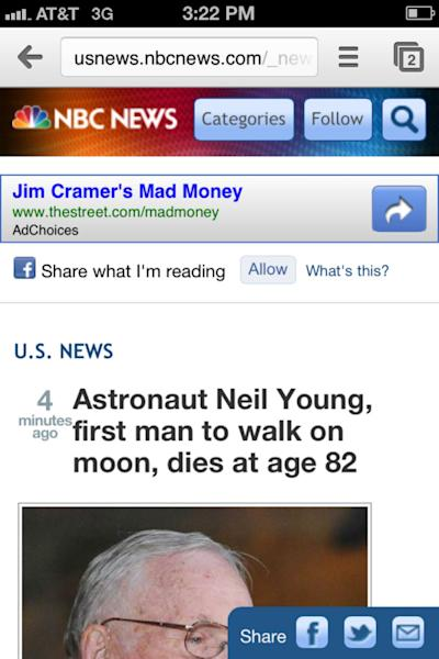 Whoops! NBC News Reports Death of Astronaut Neil ... Young