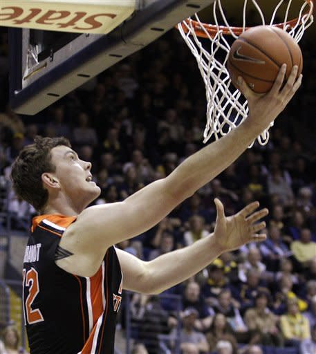 Oregon State's Angus Brandt lays up a shot against California during the first half of an NCAA college basketball game on Saturday, Feb. 18, 2012, in Berkeley, Calif. (AP Photo/Ben Margot)