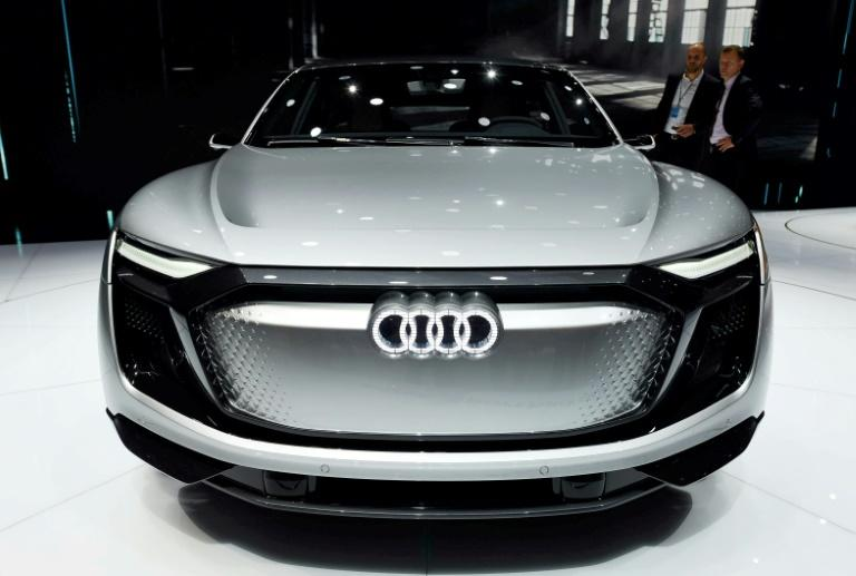 An Audi e-tron Sportback concept car at the Shanghai Auto Show on April 20, 2017. China's electric-car market is already the world's biggest, but a government proposal that automakers produce a quota of 'new-energy' vehicles is further charging it up