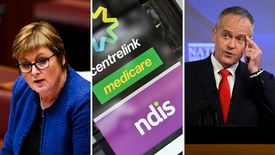 Left: NDIS Minister Linda Reynolds; right: Shadow Minister of Government Services Bill Shorten. (Source: Getty)