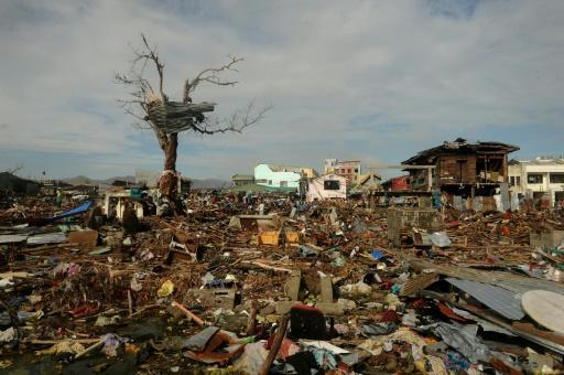 A storm surge was to blame for many of the 7,350 deaths in 2013's Super Typhoon Haiyan, which saw a wall of water estimated to be 7.5-metres-high (more than 24-feet), blast into coastal towns like Tacloban