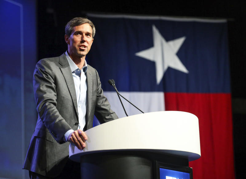 """<p> FILE - In this June 22, 2018, file photo, Beto O'Rourke, who is running for the U.S. Senate, speaks during the general session at the Texas Democratic Convention in Fort Worth, Texas. If Senate seats were decided by viral videos and fawning national media profiles, O'Rourke would win in a landslide. He's gone viral defending NFL players' right to protest during the national anthem and skateboarding. So far, O'Rourke has capitalized on the hype machine. His fundraising's strong and he's going on """"Ellen."""" But problems may lurk since voters sometimes punish candidates for too much ambition, especially if they've not won anything yet. (AP Photo/Richard W. Rodriguez, File) </p>"""