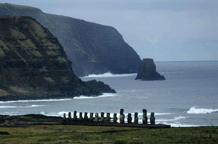 FILE PHOTO: A VIEW OF MOAI STATUES ON EASTER ISLAND.