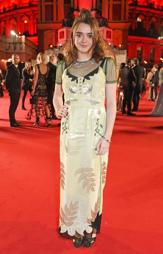 <p>Actress Maisie Williams chose a sheer leaf-emblazoned dress. (Photo: Getty Images) </p>