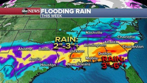 PHOTO: With days of rain expected over the same areas in the South, a flooding threat is increasing and some areas could see more than a half a foot of rain meaning it could turn into a dangerous situation by the middle of the week. (ABC News)
