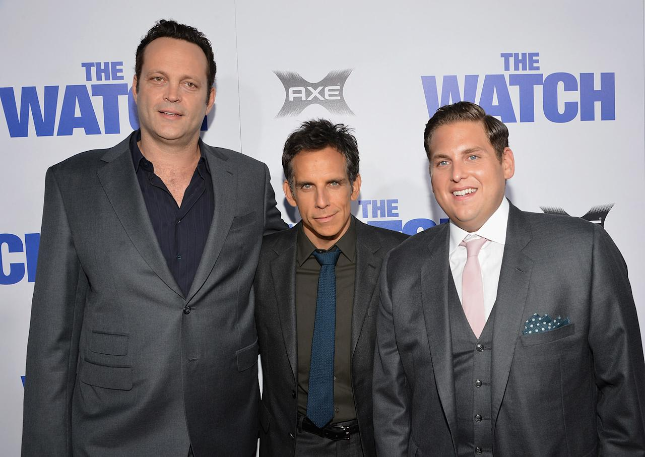 "Vince Vaughn, Ben Stiller and Jonah Hill attend the Los Angeles premiere of ""The Watch"" on July 23, 2012."