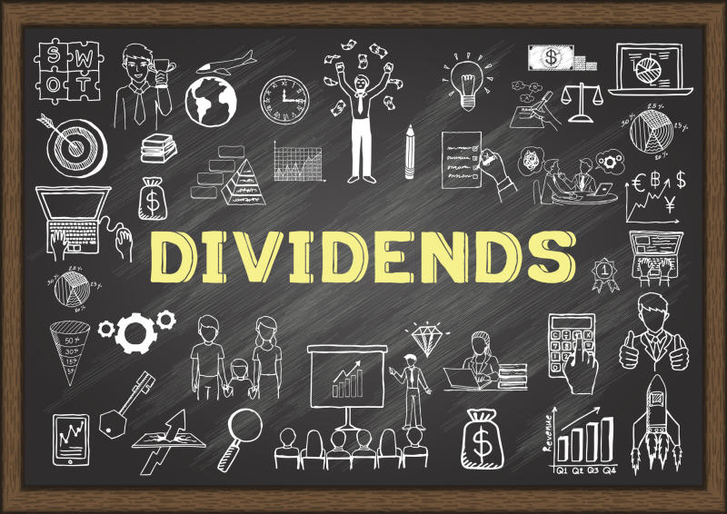 The word Dividends written on a chalkboard surrounded by market-related illustrations.