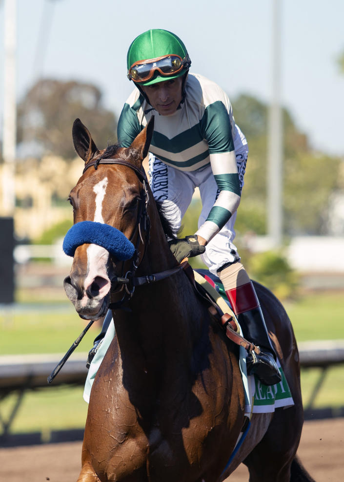 In this image provided by Benoit Photo, John Velazquez, top, guides Gamine to the Winner's Circle after their victory in the Grade II, $200,000 Great Lady M Stakes horse race Monday, July 5, 2021, at Los Alamitos Race Course in Cypress, Calif. (Benoit Photo via AP)