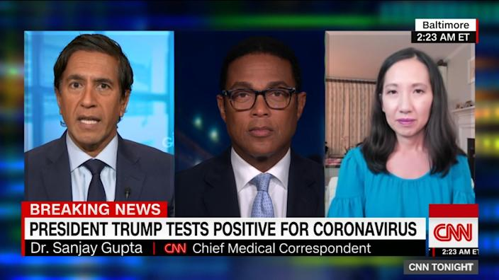 "Dr. Sanjay Gupta, from left, CNN anchor Don Lemon and Dr. Leana Wen discuss the news in the early morning hours of Oct. 2 that President Trump and First Lady Melania Trump tested positive for the coronavirus. <span class=""copyright"">(CNN)</span>"