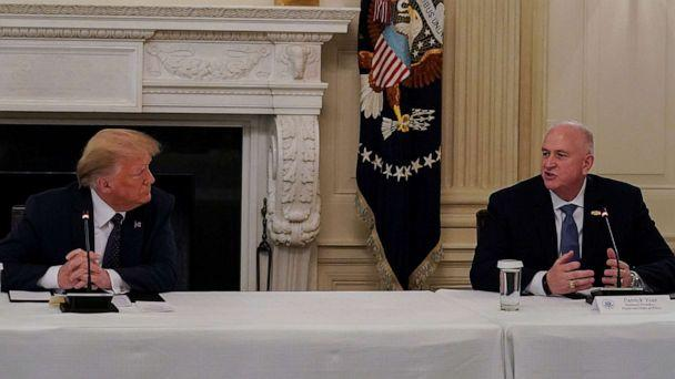 PHOTO: President Donald Trump listens to Fraternal Order of Police National President Patrick Yoes during a roundtable discussion with law enforcement at the White House in Washington, June 8, 2020. (Kevin Lamarque/Reuters)