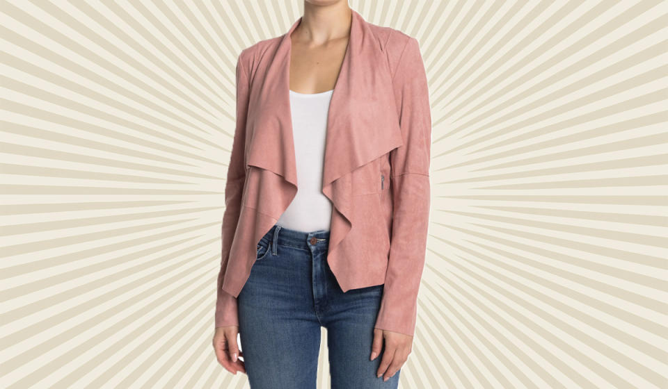 This suede-like jacket instantly makes a casual outfit
