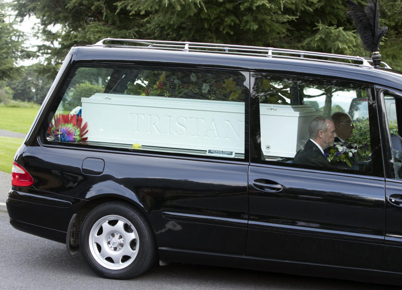 The funeral cortege of the two boys, Tristan and Blake Barrass (PA)