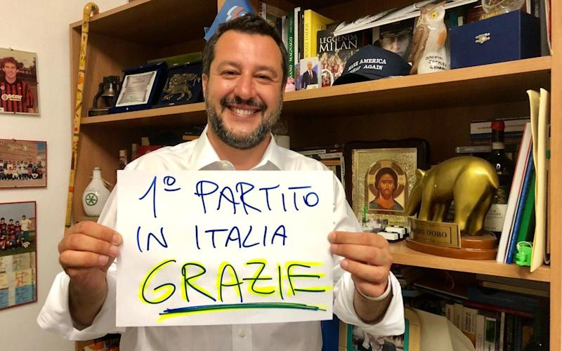 Matteo Salvini expresses his gratitude to voters - 'First party in Italy, thank you' the sign reads - Matteo Salvini social media