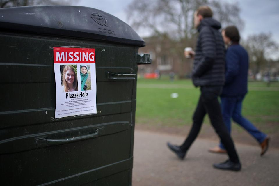 A poster appealing for information on Clapham Common in south London after Sarah Everard disappeared (Aaron Chown/PA) (PA Wire)