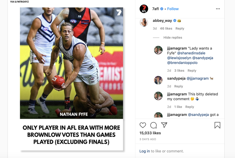 Channel 7 reporter Abbey Way was the target of online trolls. (@7AFL)