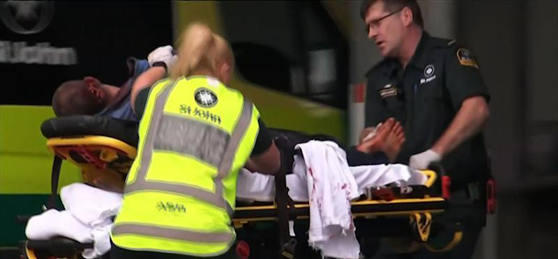 An image grab from TV New Zealand shows a victim arriving at a hospital following a mosque shooting in Christchurch on March 15, 2019.