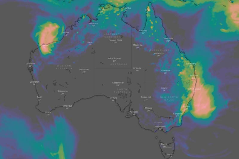 A weather map shows rainfall over the next three days in Australia.
