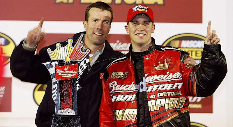 J.D. Gibbs celebrates with Denny Hamlin at Daytona in 2006.