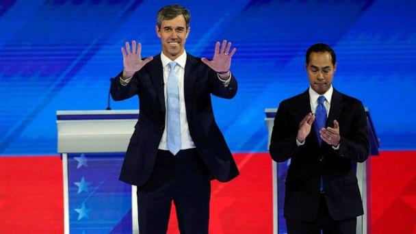 PHOTO: Former Texas Rep. Beto O'Rourke and former Housing and Urban Development Secretary Julian Castro take the stage on Sept. 12, 2019, during a Democratic presidential primary debate in Houston. (David J. Phillip/AP)