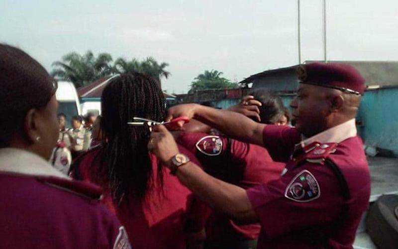 Mr Kumapayi cut off employees' braids and weaves during an  inspection parade - FRSC Facebook
