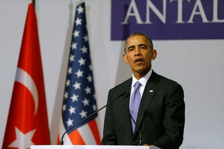 U.S. President Obama addresses news conference following working session at G20 summit in Antalya