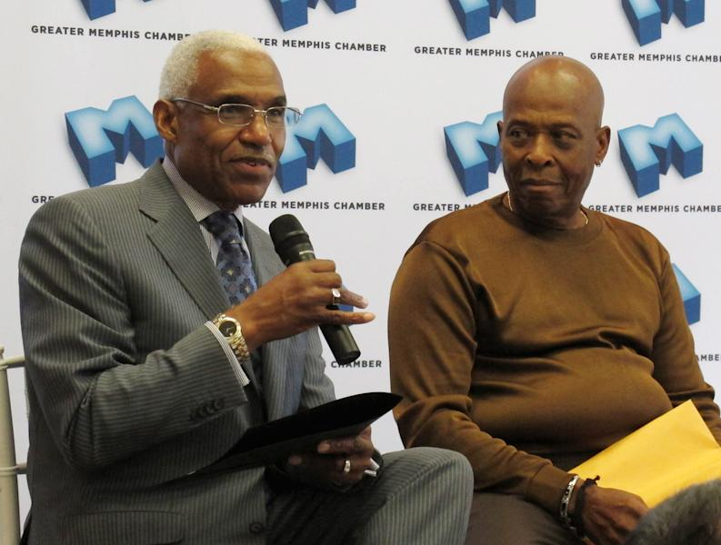 "Songwriter David Porter, right, listens as Memphis Mayor A C Wharton Jr. talks about Porter's new national music mentorship program on Tuesday, Oct. 23, 2012 in Memphis, Tenn. Porter, who co-wrote the soul classics ""Soul Man"" and ""Hold On I'm Comin',"" hopes to create a talent pool of successful young musicians who will learn from music industry veterans involved in the program. (AP Photo/Adrian Sainz)"