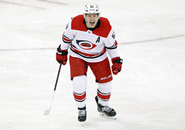 Carolina Hurricanes left wing Jeff Skinner (53) reacts after scoring an unassisted goal during the third period of an NHL hockey game against the New York Rangers in New York, Monday, March 12, 2018. (AP Photo/Kathy Willens)