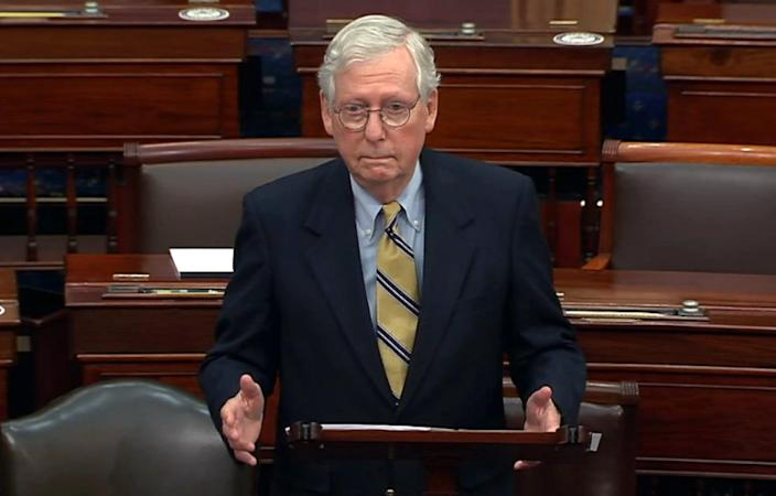 Senate Republican leader Mitch McConnell on Feb. 13, 2021, in Washington. D.C.