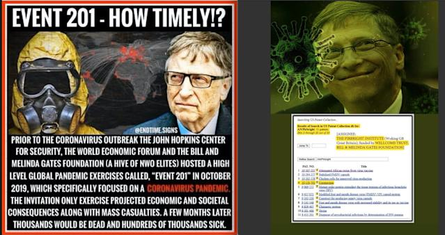 Two examples of coronavirus-related Bill Gates conspiracy theories online, in shareable meme form, found on Twitter in April.