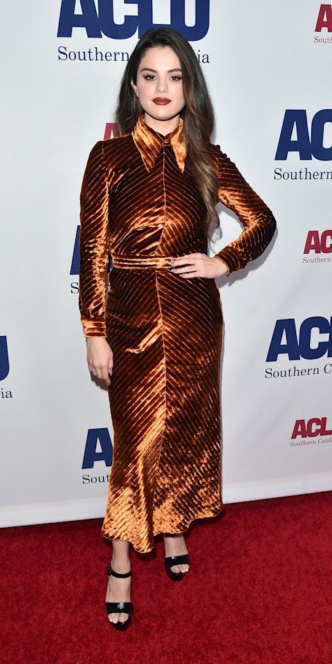 <p>At the ACLU's Bill of Rights Dinner, Selena Gomez wore a brownish-orange velvet Prada dress that matched her dark lipstick.</p>