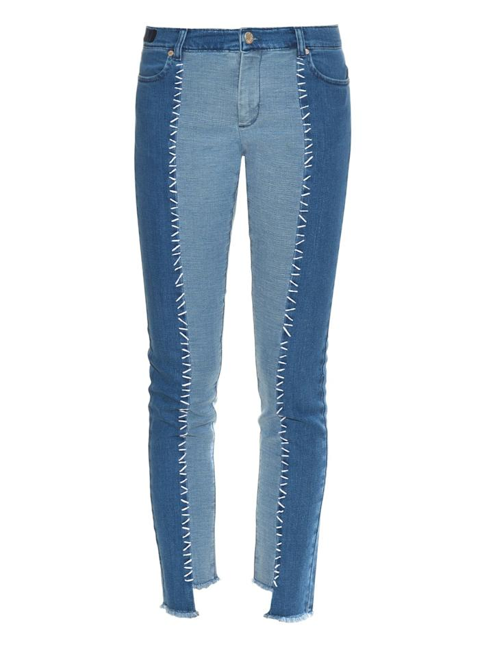 """<p>House of Holland Denim Jeans, $333, <a href=""""http://www.matchesfashion.com/us/products/House-Of-Holland-Patchwork-denim-skinny-jeans--1030932#"""">matchesfashion.com</a></p>"""