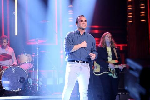 THE TONIGHT SHOW STARRING JIMMY FALLON -- Episode 0621 -- Pictured: (l-r) Gerrit Welmers, Samuel T. Herring and William Cashion of musical guest Future Islands on February 9, 2017