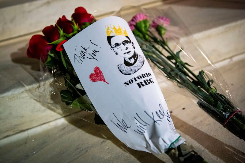 A bouquet of flowers is left outside of the U.S. Supreme Court following the death of U.S. Supreme Court Justice Ruth Bader Ginsburg, in Washington