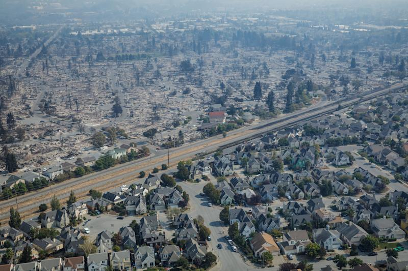 Surrounding neighborhoods appear untouched by fire outside the Coffey Park neighborhood.